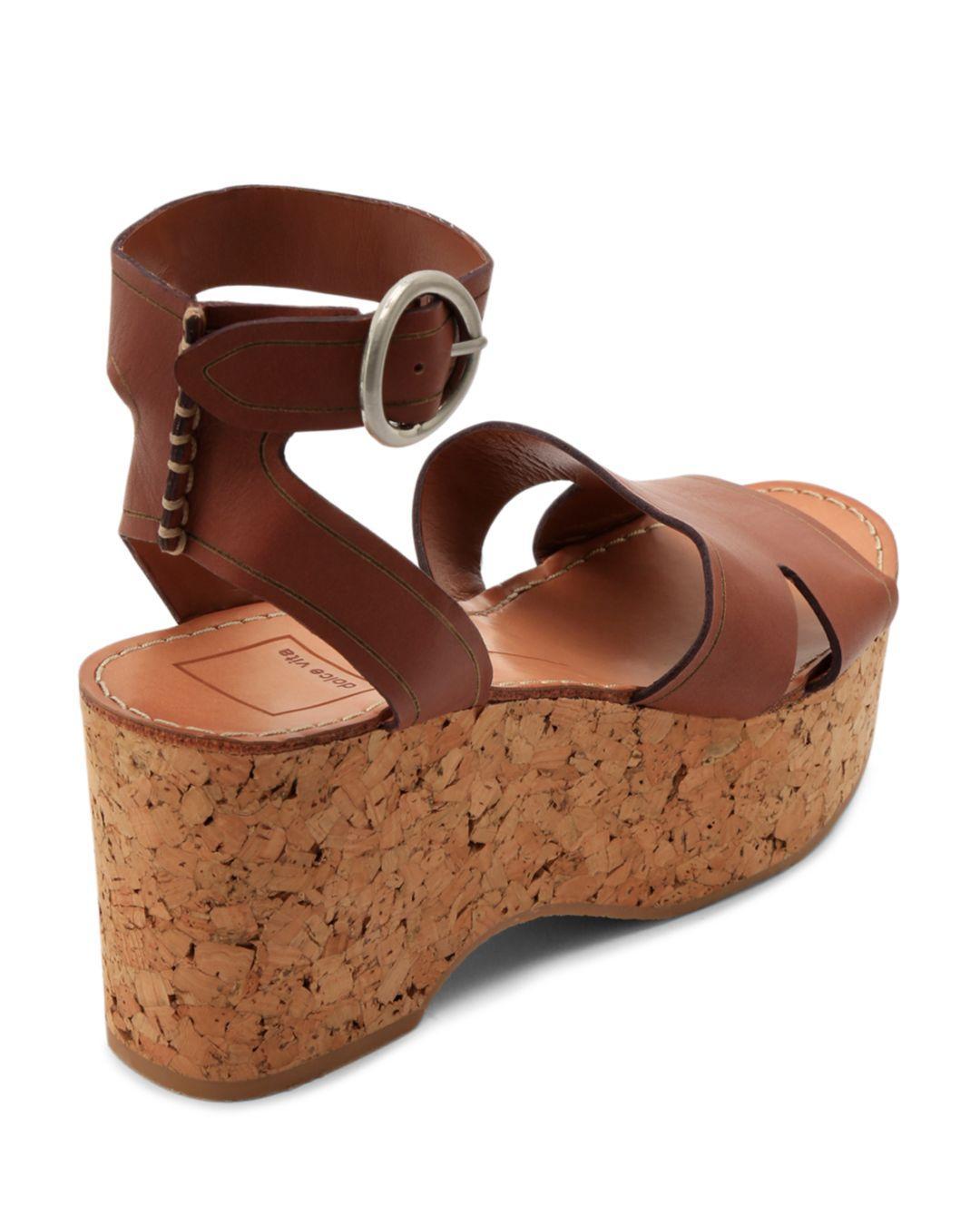99c281df3e5a Dolce Vita - Brown Women s Linda Leather   Cork Platform Sandals - Lyst.  View fullscreen