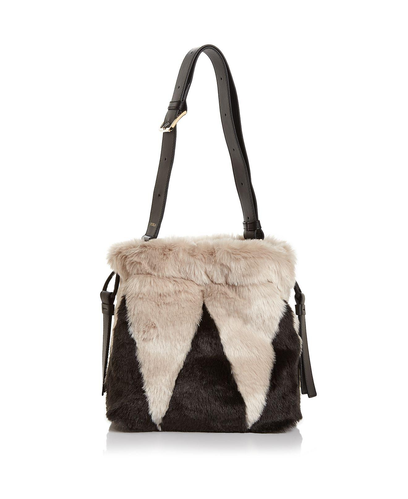 Lyst Furla Caos Drawstring Small Faux Fur Shoulder Bag