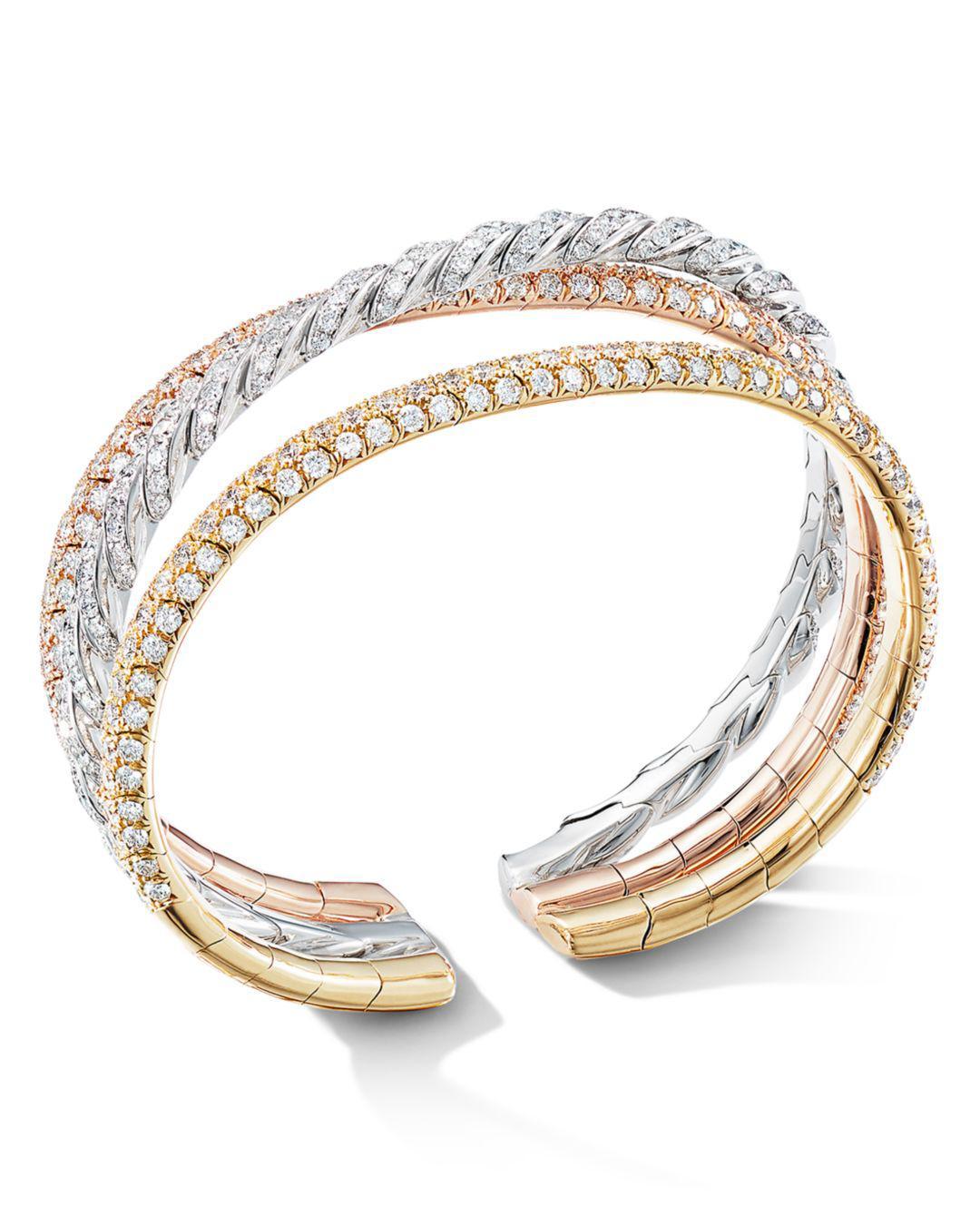 7de9d20a7e1d3 David Yurman. Women s Metallic Paveflex Three-row Bracelet In 18k Gold With  Diamonds