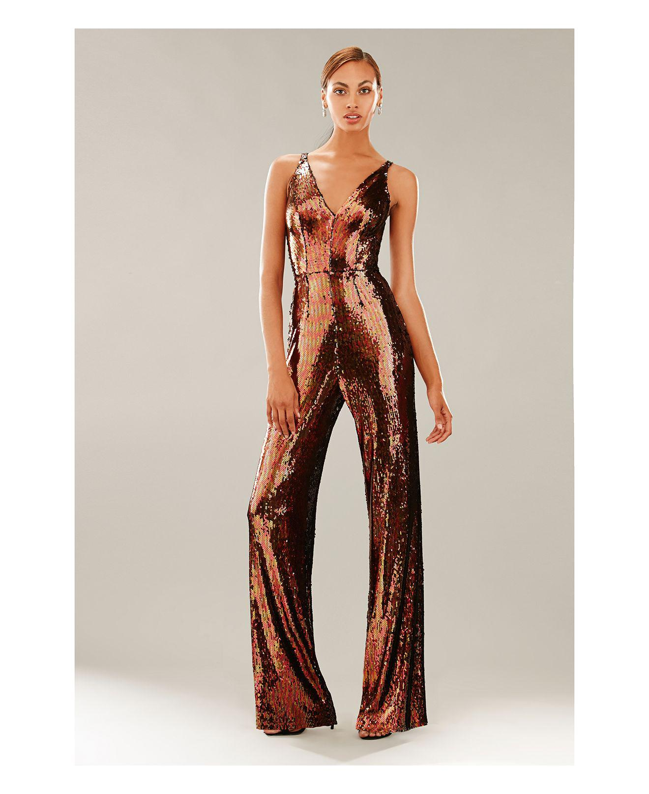 41a1bc40655 Lyst - Dress the Population Charlie Sequin Jumpsuit