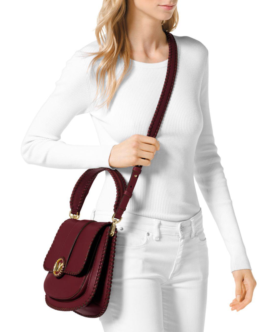 da2f764db709 MICHAEL Michael Kors Lillie Medium Flap Messenger (oxblood) Messenger Bags  - Save 50% - Lyst