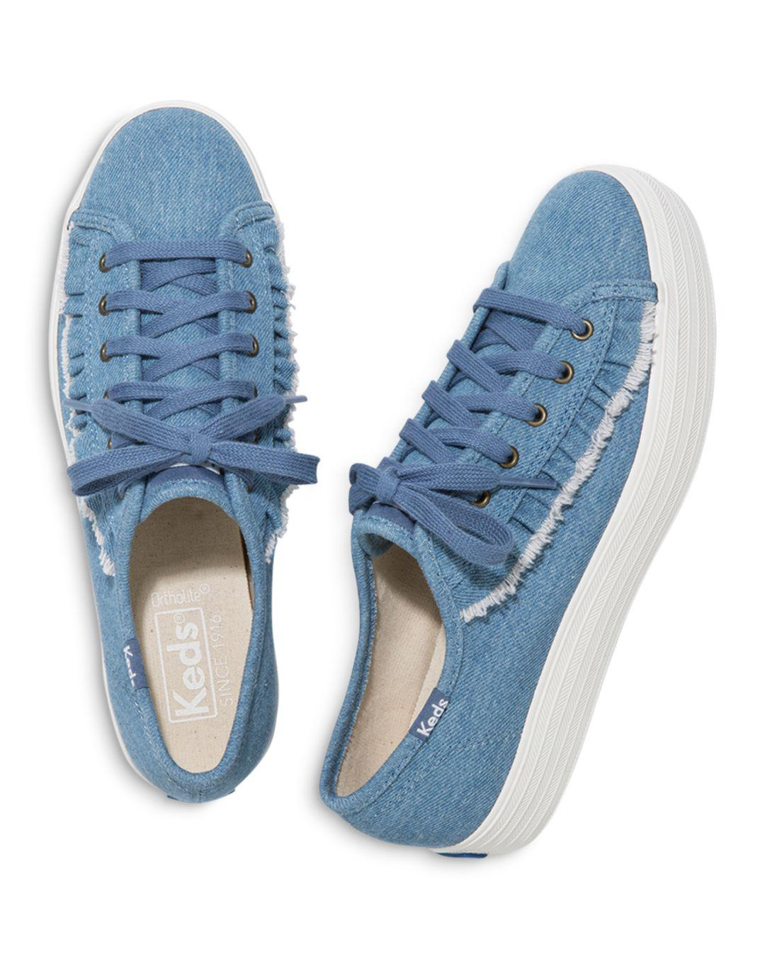 85caa43b3139d Lyst - Keds Women s Ruffle Triple Kick Canvas Lace Up Sneakers in Blue