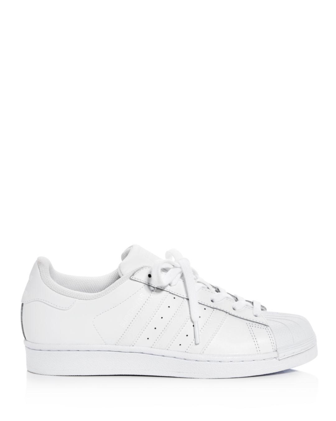 Lyst Adidas Sneakers Mujer Superstar Lace Up Sneakers Adidas in Blanco 96e49d