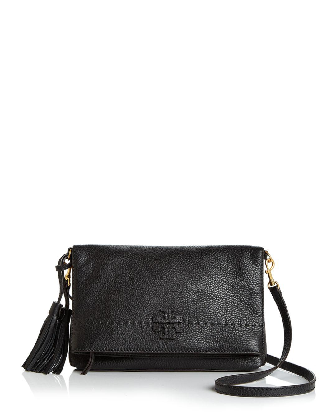 6e2b8d717876 Lyst - Tory Burch Mcgraw Fold-over Leather Crossbody in Black - Save 25%