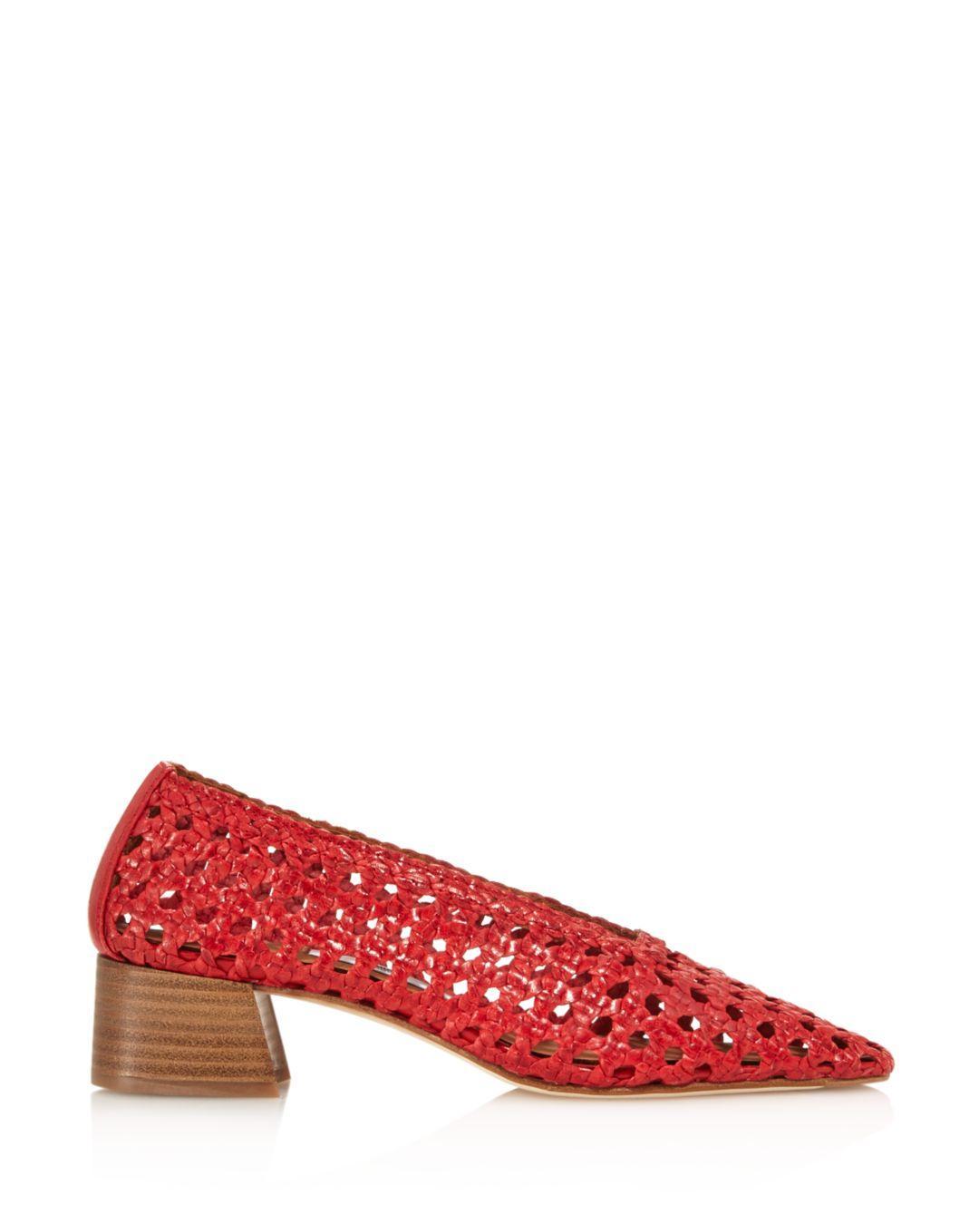 24d37a0065 Lyst - Miista Women's Taissa Woven Leather Pumps in Red
