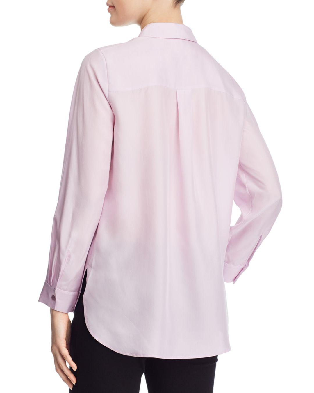 9c6e506f228551 Lyst - Eileen Fisher Silk Classic Button-down Top in Pink