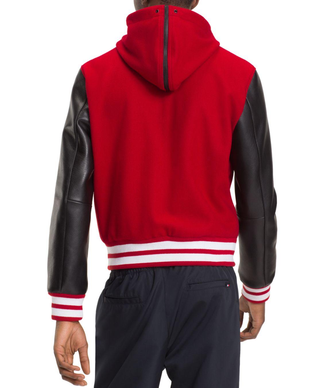 baa44500 Tommy Hilfiger Mixed - Media Hooded Varsity Jacket in Red for Men - Save  58% - Lyst