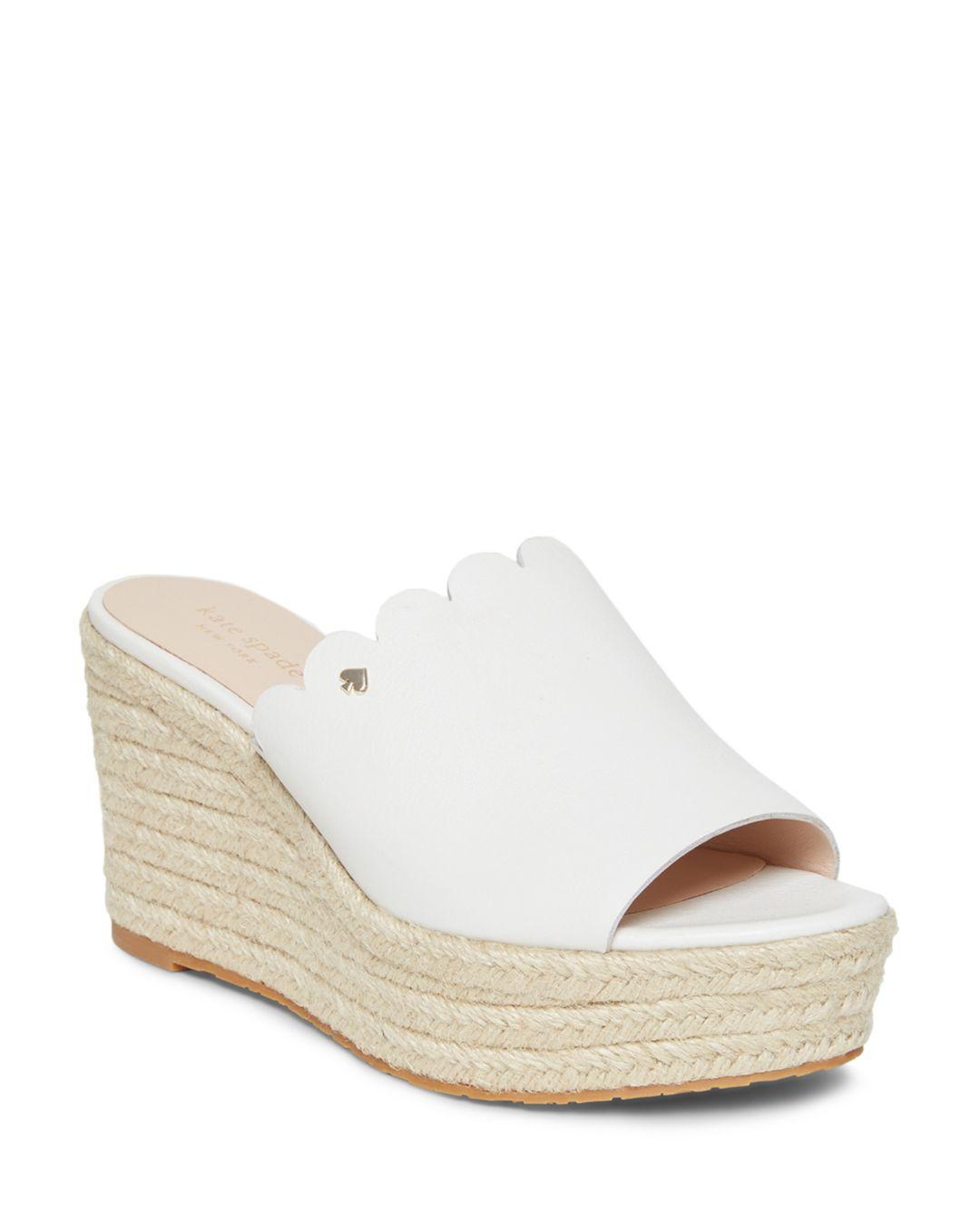 7c5bb41c3c Lyst - Kate Spade Tabby Leather Platform Espadrilles in White