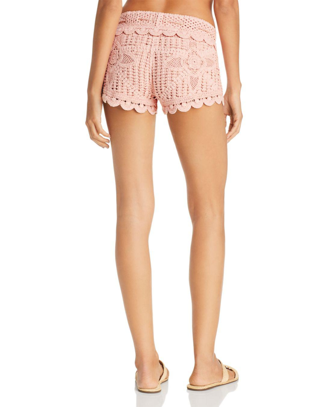 d1b4d786c1294 Lyst - Surf Gypsy Dusty Rose Crochet Swim Cover-up Shorts in Pink