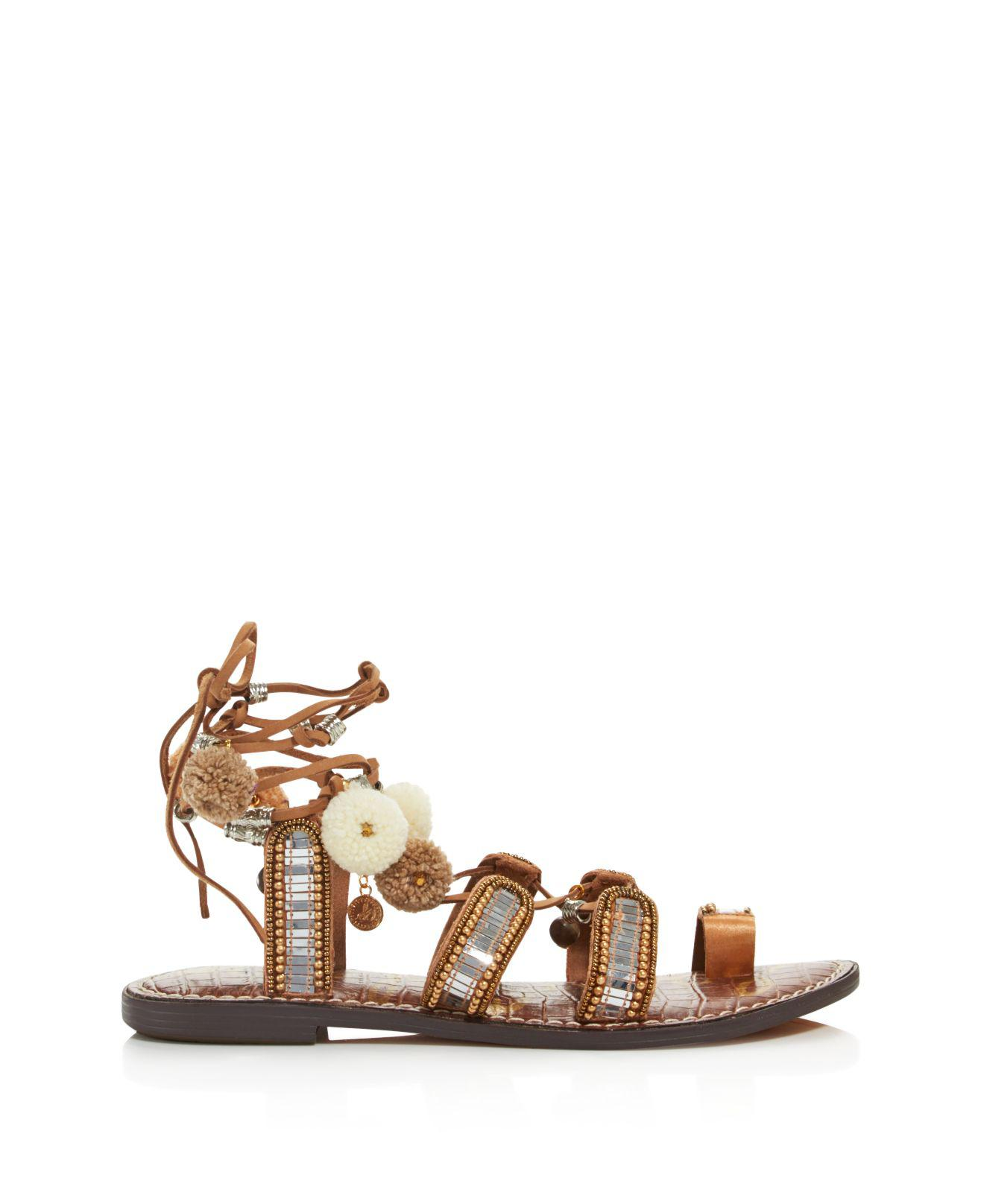 8550becbf Lyst - Sam Edelman Graciela Embellished Lace Up Sandals With Pom-poms