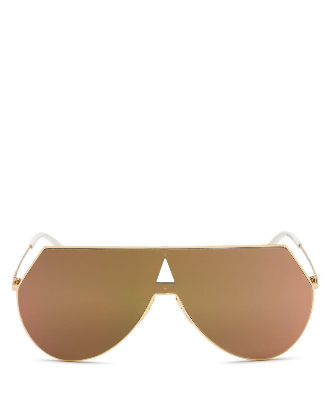 6c049f17e80a8 Fendi Women s Eyeline Mirrored Shield Sunglasses in Metallic - Lyst