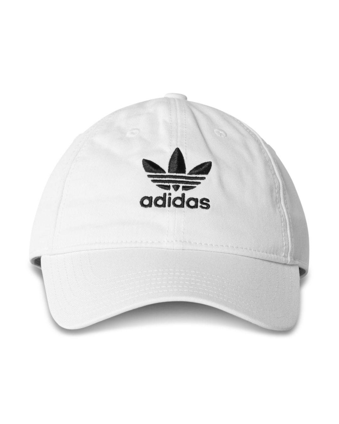 66e171d81dc Adidas Originals Relaxed Strapback Cap in White for Men - Lyst