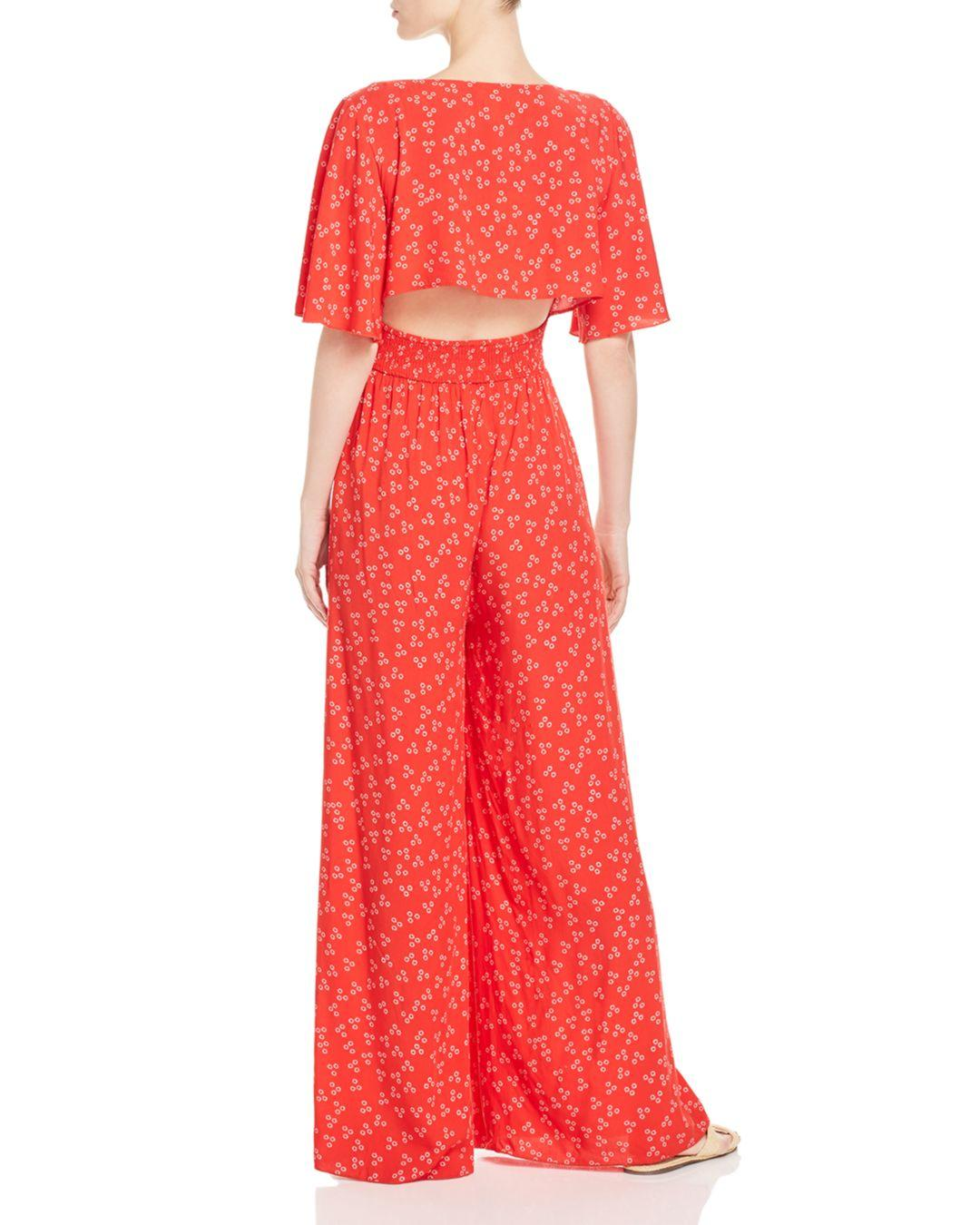 2685c29e11e Lyst - Finders Keepers Frida Wide-leg Floral-print Jumpsuit in Red