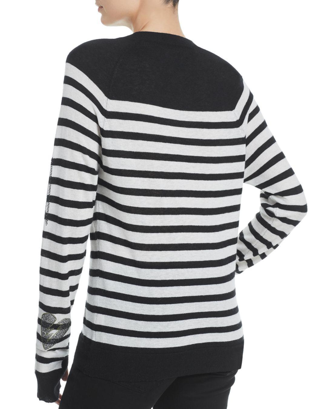 870a6f4c8bd021 Zadig & Voltaire Reglis Bis Striped Cashmere Sweater in Black - Save 3% -  Lyst