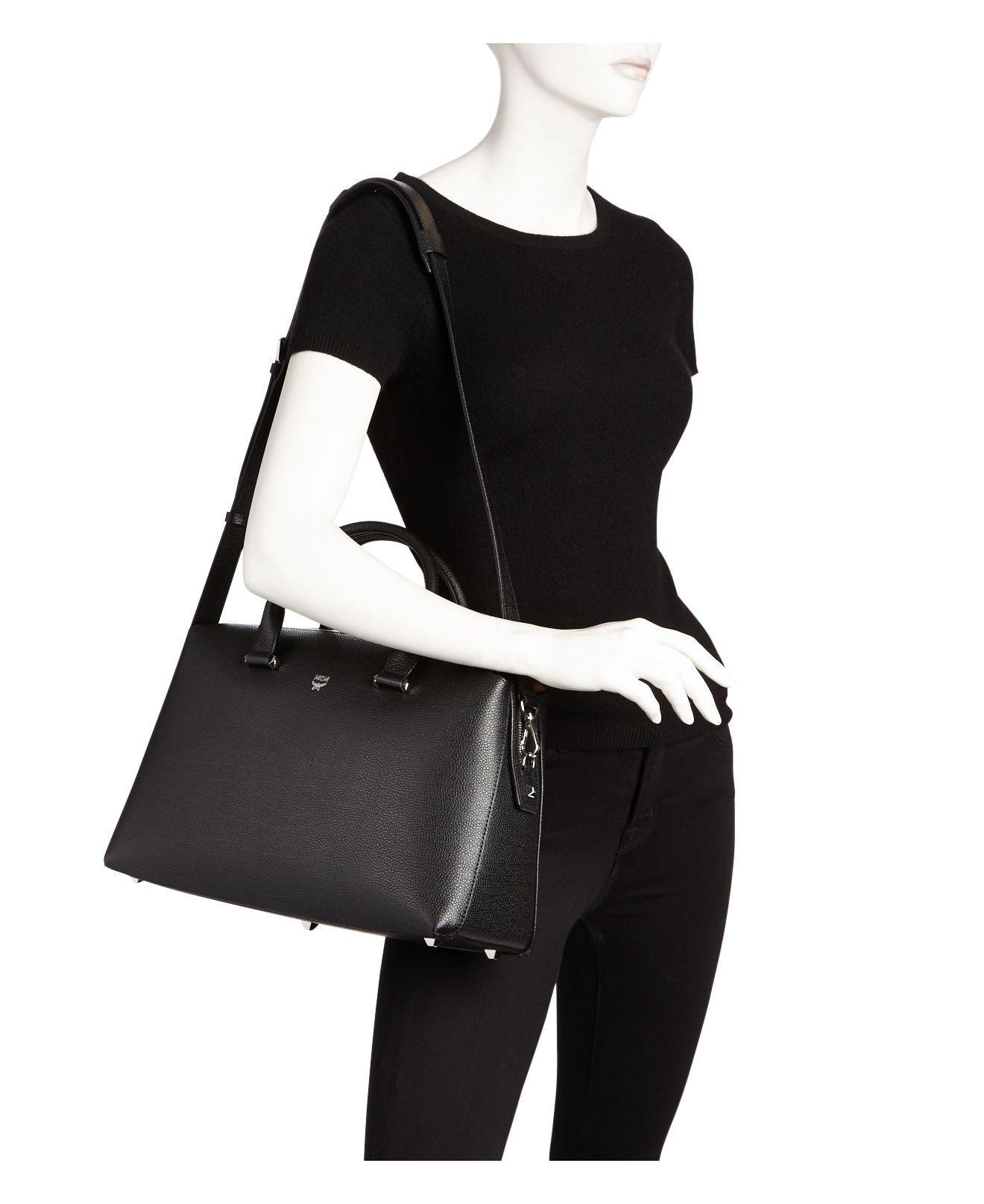 1b4a3aa69a2ca7 Lyst - MCM Ella Boston Large Leather Satchel in Black