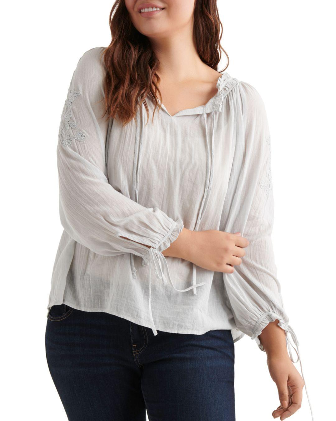084bcba29d272 Lyst - Lucky Brand Embroidered Peasant Top in Gray - Save 25%