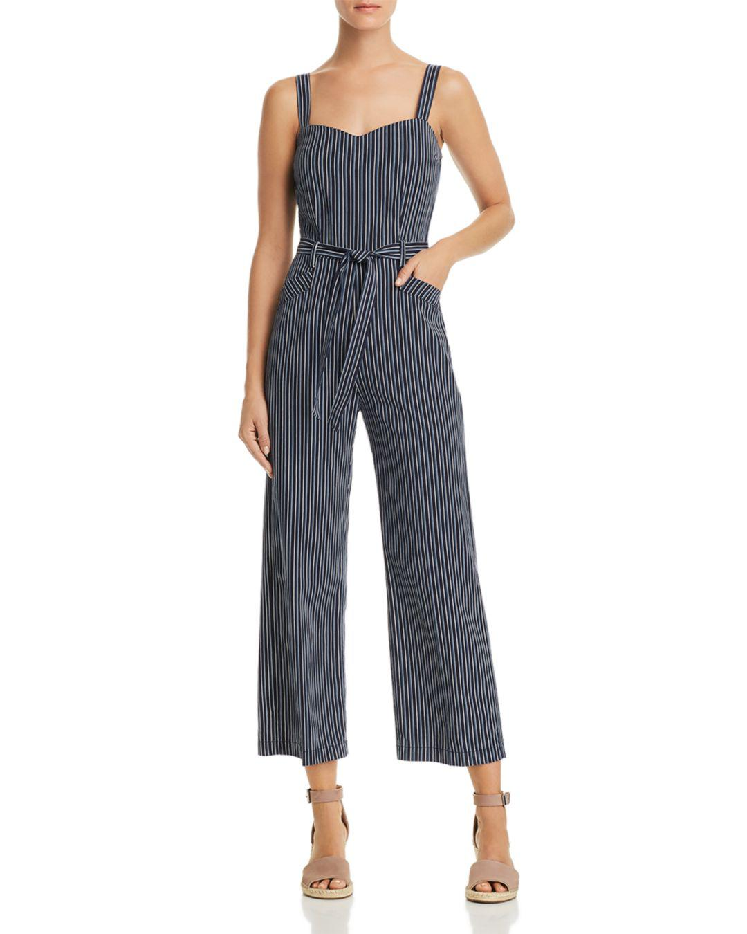 30eea50bf9f6 PAIGE Emma Striped Jumpsuit in Blue - Lyst