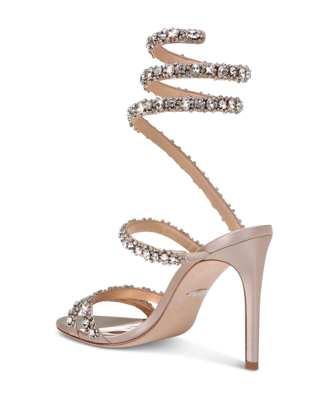cf63fc0d8 Lyst - Badgley Mischka Women s Peace Embellished Satin Ankle Wrap High-heel  Sandals - Save 23%