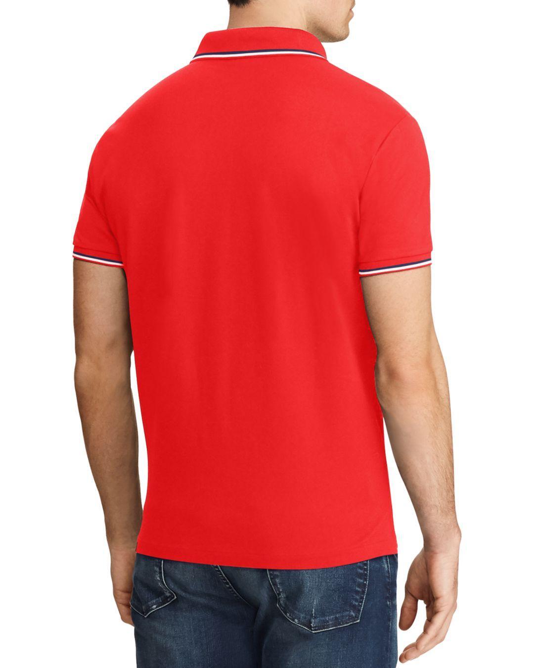 d5c92b24f67 Lyst - Polo Ralph Lauren Stretch Mesh Custom Slim Fit Polo Shirt in Red for  Men