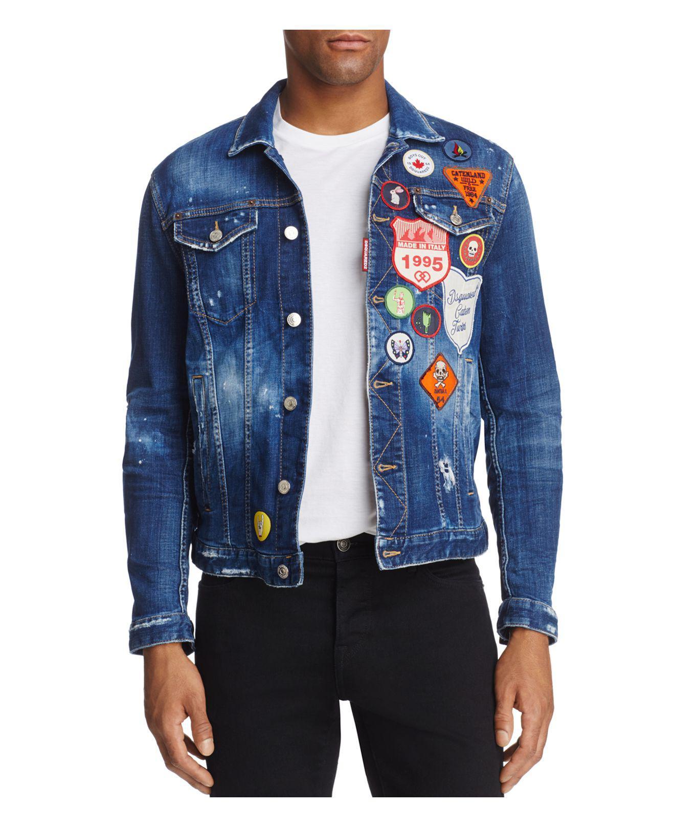 a22ead7c0bd Lyst - DSquared² Dan Patch Slim Fit Jean Jacket in Blue for Men