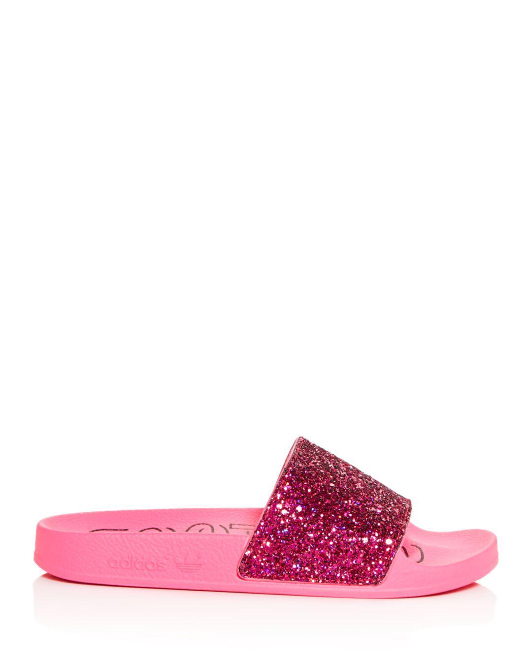 adidas Women s Adilette Glitter Slide Sandals in Pink - Lyst ed080084128