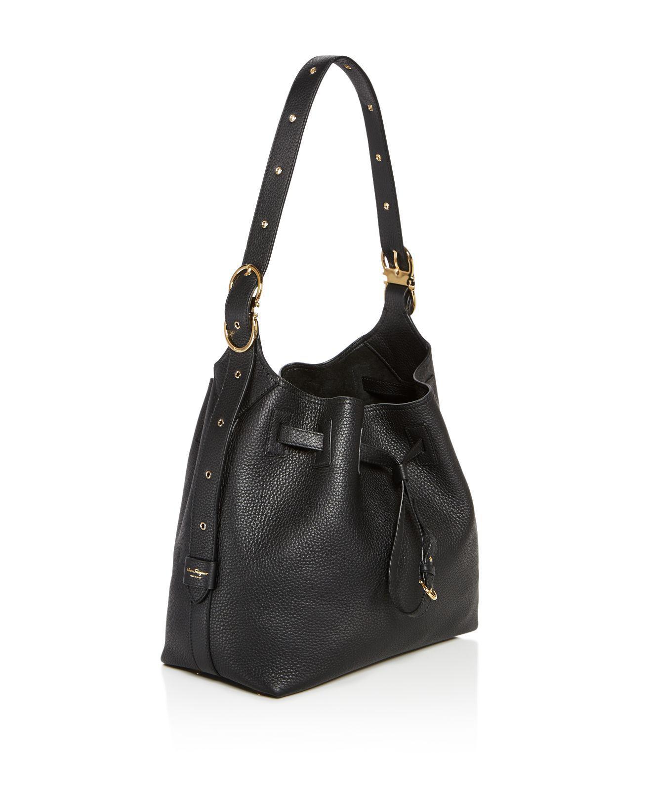 3a4992c14591 Lyst - Ferragamo Carla Pebbled Leather Bucket Bag in Black