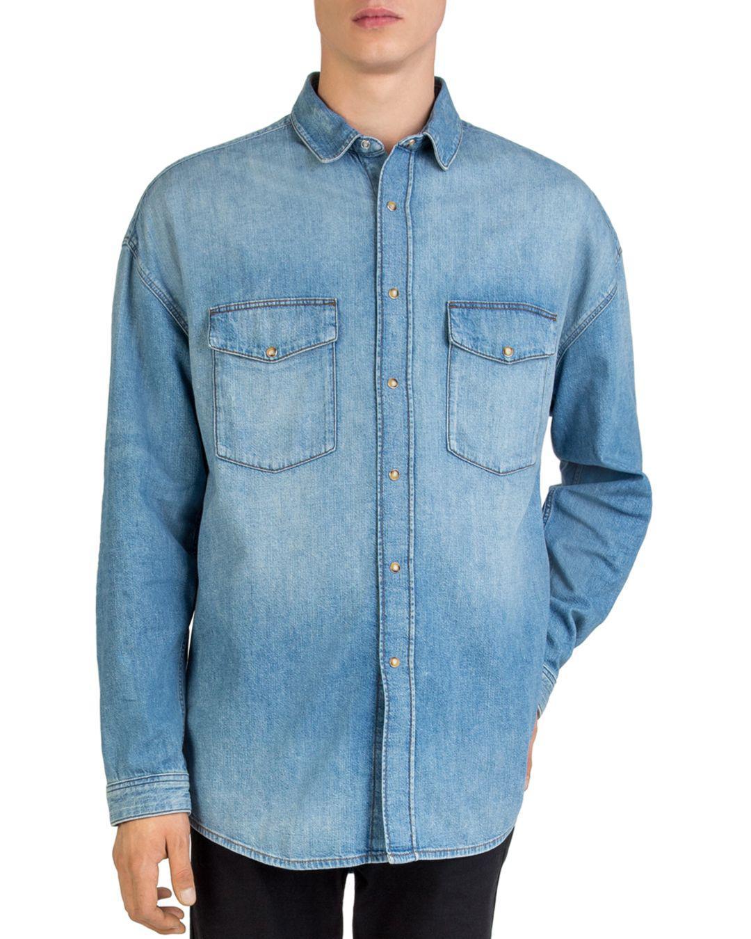 7ebda3e6fc The Kooples - Blue Oversized Faded Denim Shirt for Men - Lyst. View  fullscreen