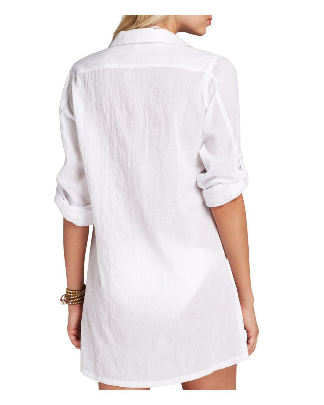 f0a716a6d69 Lyst - Ralph Lauren Lauren Crushed Cotton Camp Shirt Swim Cover-up in White