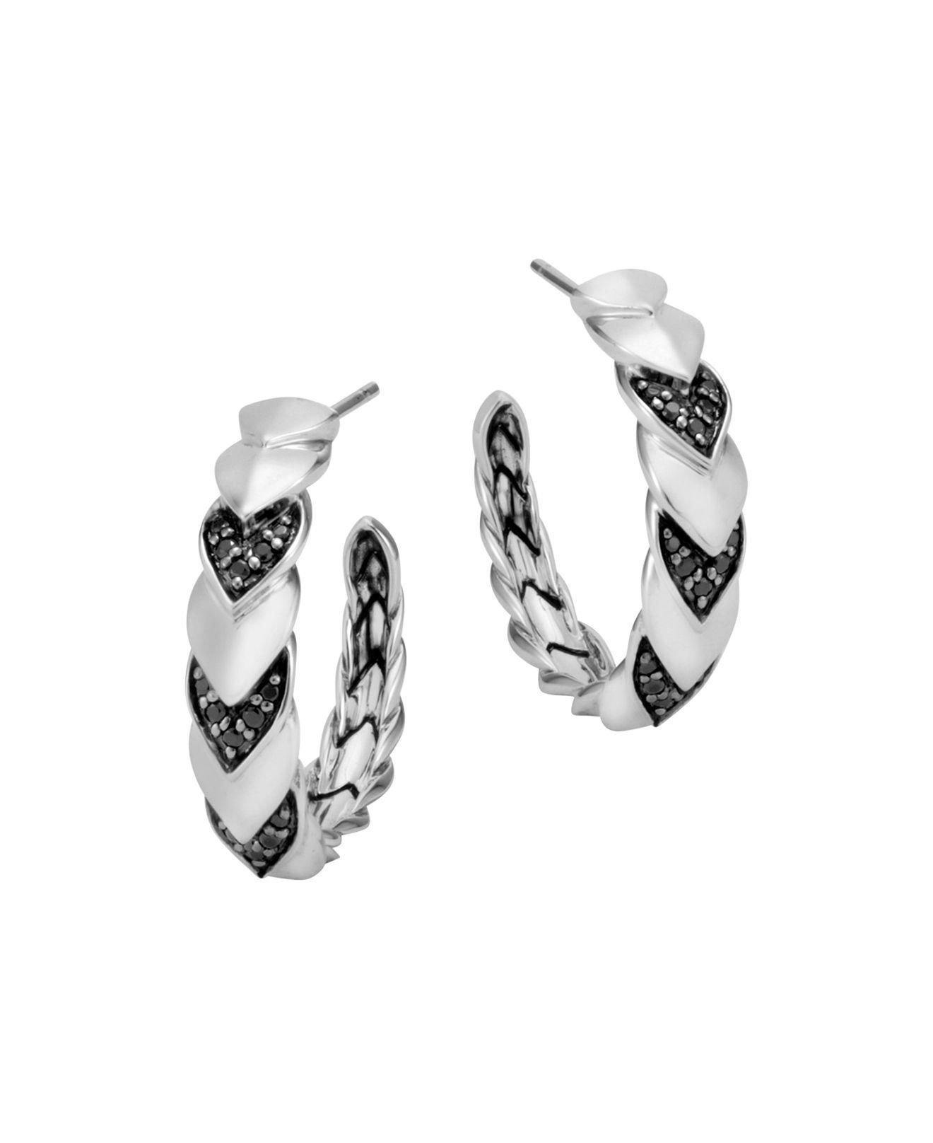 John Hardy Naga Medium Hoop Earring With Black Sapphire Black sapphire kVg1TD7h