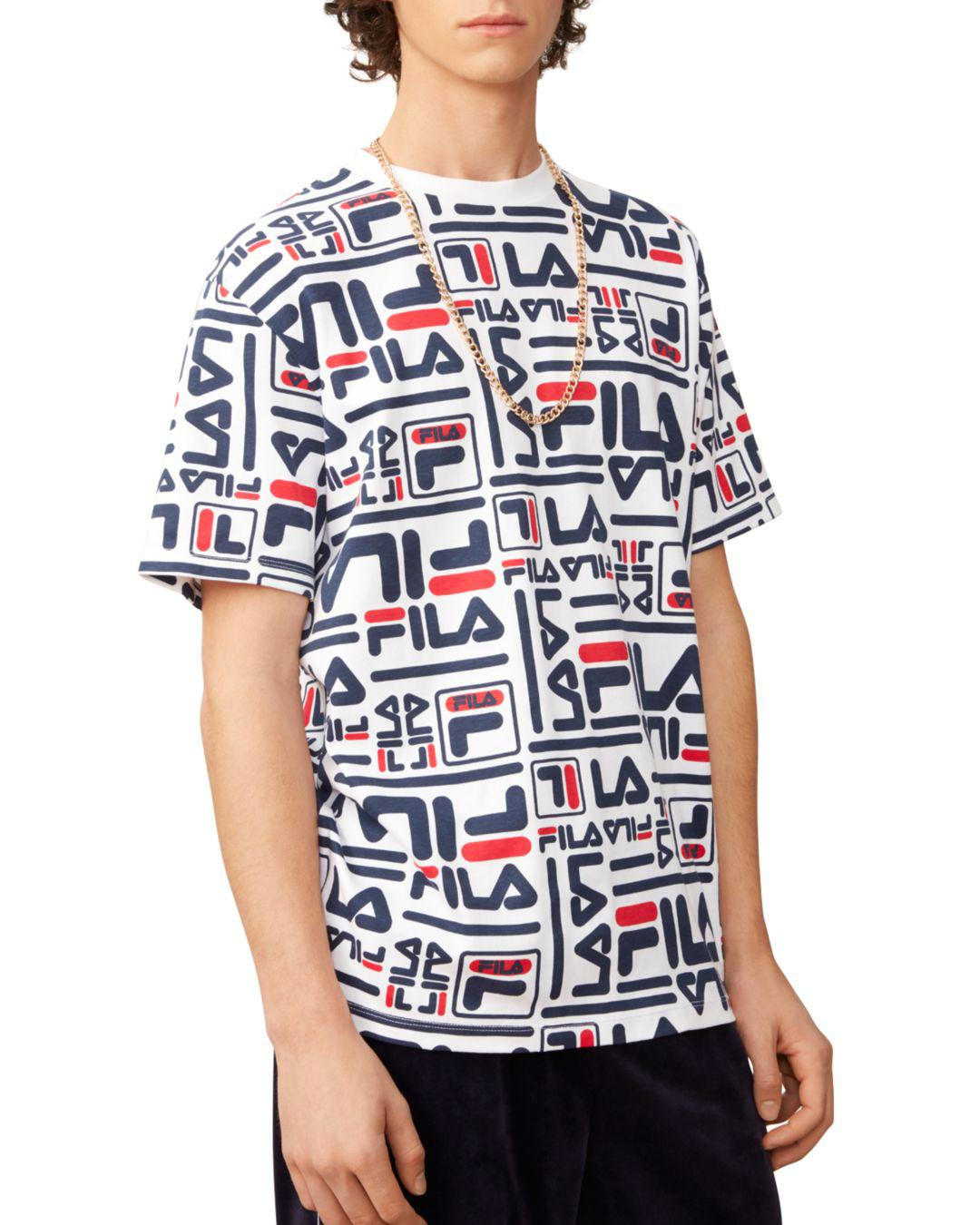 be55339b9a3a9 Fila Charlie Allover Logo-print Tee in White for Men - Lyst