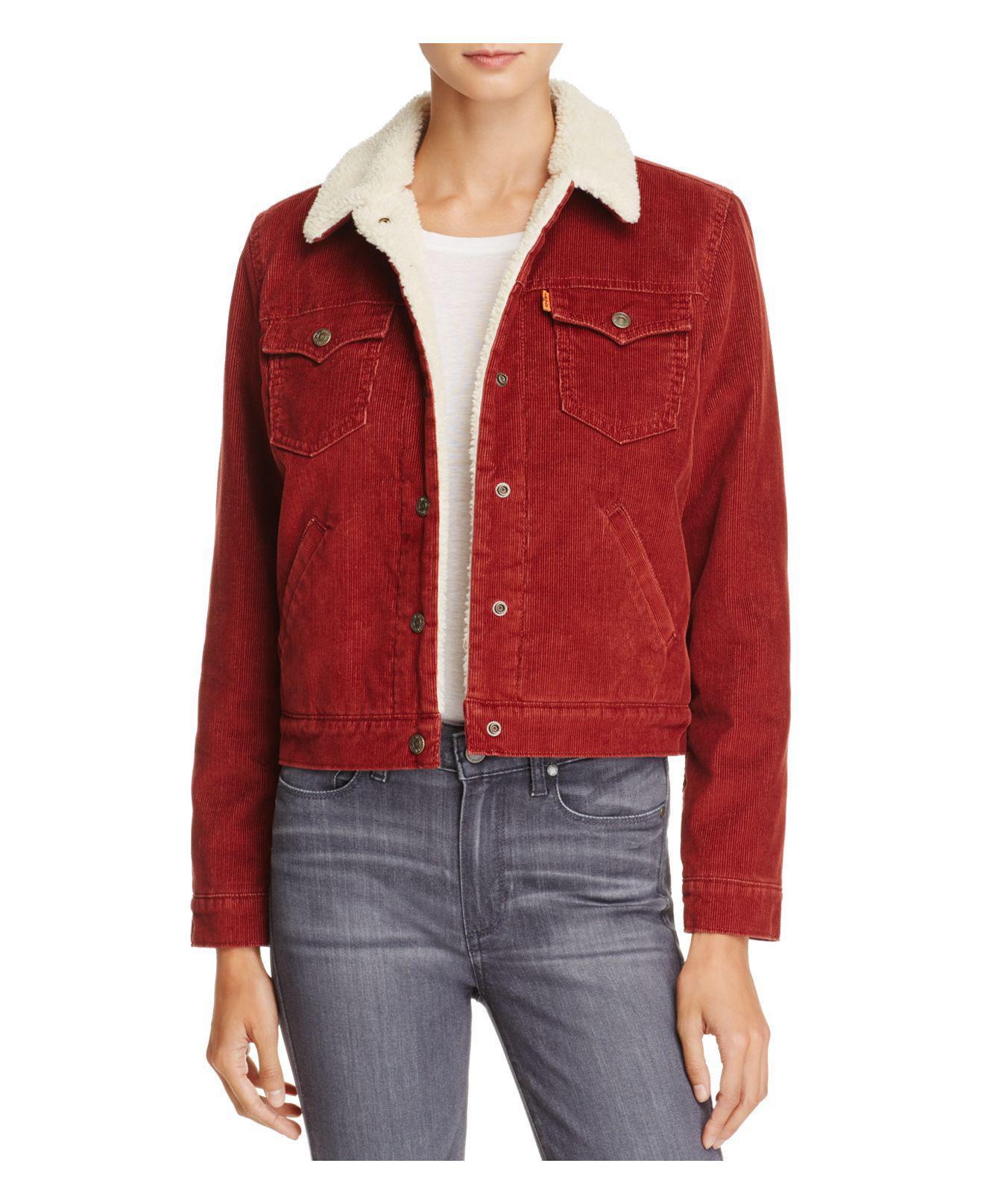 lyst levi 39 s corduroy sherpa lined trucker jacket in red. Black Bedroom Furniture Sets. Home Design Ideas