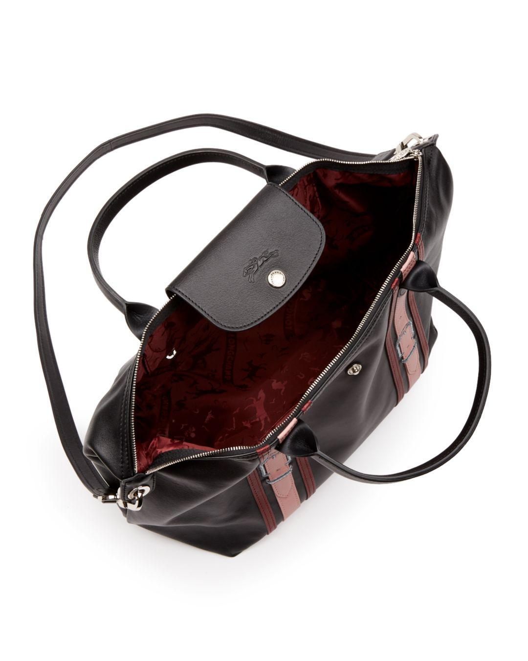 4f51ec3e08 Lyst - Longchamp Le Pliage Cuir Bride Medium Leather Tote in Black