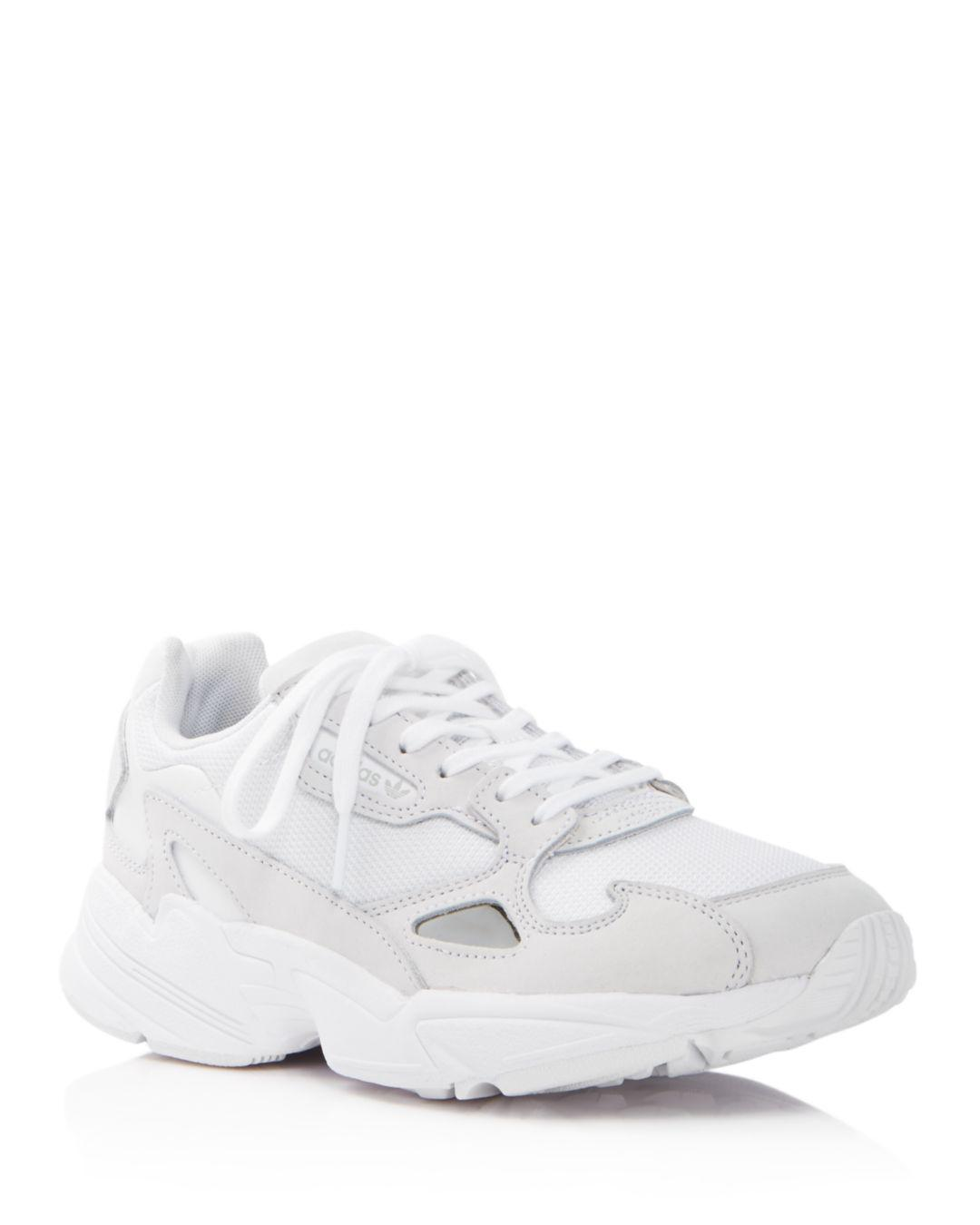 check out 9d7c9 070c5 adidas Women s Falcon Suede   Leather Lace Up Sneakers in White - Lyst