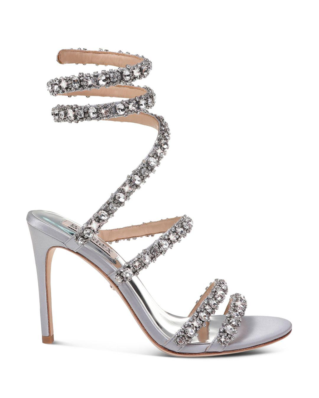 9419dcf98 Lyst - Badgley Mischka Women s Peace Embellished Satin Ankle Wrap High-heel  Sandals in Metallic - Save 36%