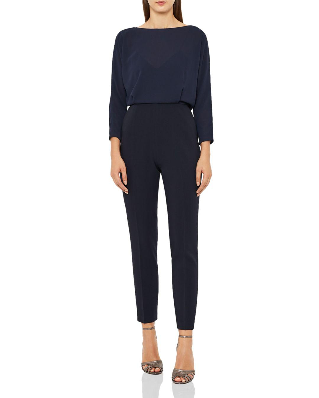 c976853253 Reiss Ania-fabric Mix Jumpsuit in Blue - Lyst