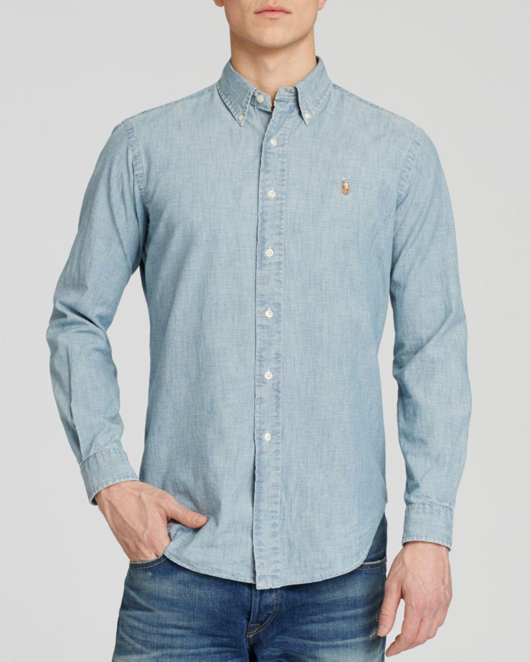 678bbad46bd Lyst - Polo Ralph Lauren Chambray Button-down Shirt - Classic Fit in ...