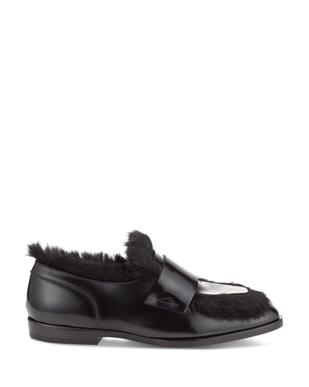 2832cbaac22 Lyst - Jimmy Choo Men s Tedi Leather   Rabbit Fur Loafers in Black ...