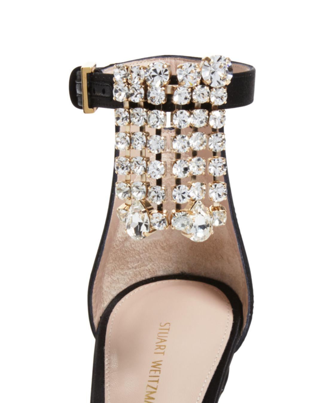8de67a92db44 Stuart Weitzman - Black Women s 100fringesquarenudist Satin Embellished High -heel Ankle Strap Sandals - Lyst. View fullscreen
