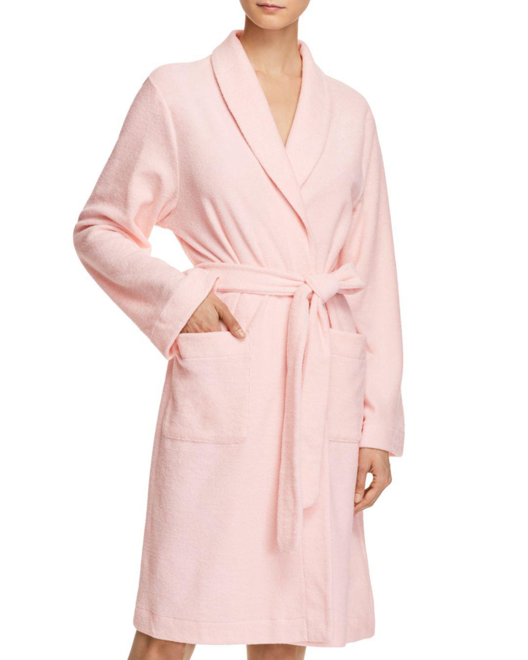 Lyst - Hanro Plush Wrap Robe in Pink fdfa0cffe