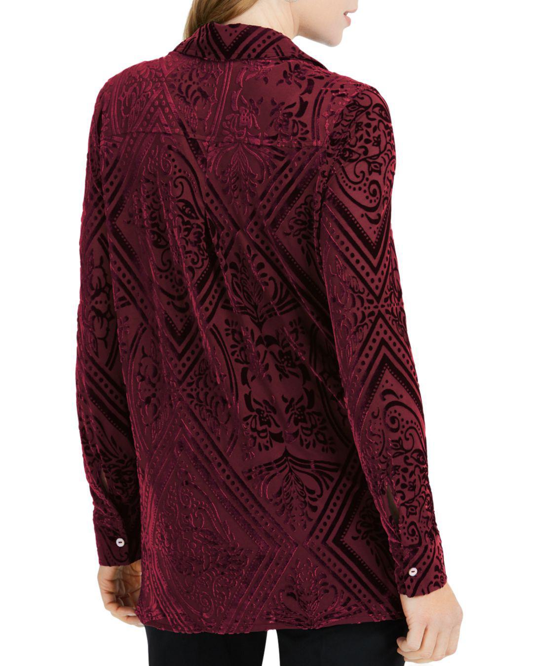 afab660ae89 Lyst - Foxcroft Jade Flocked Velvet Shirt in Red
