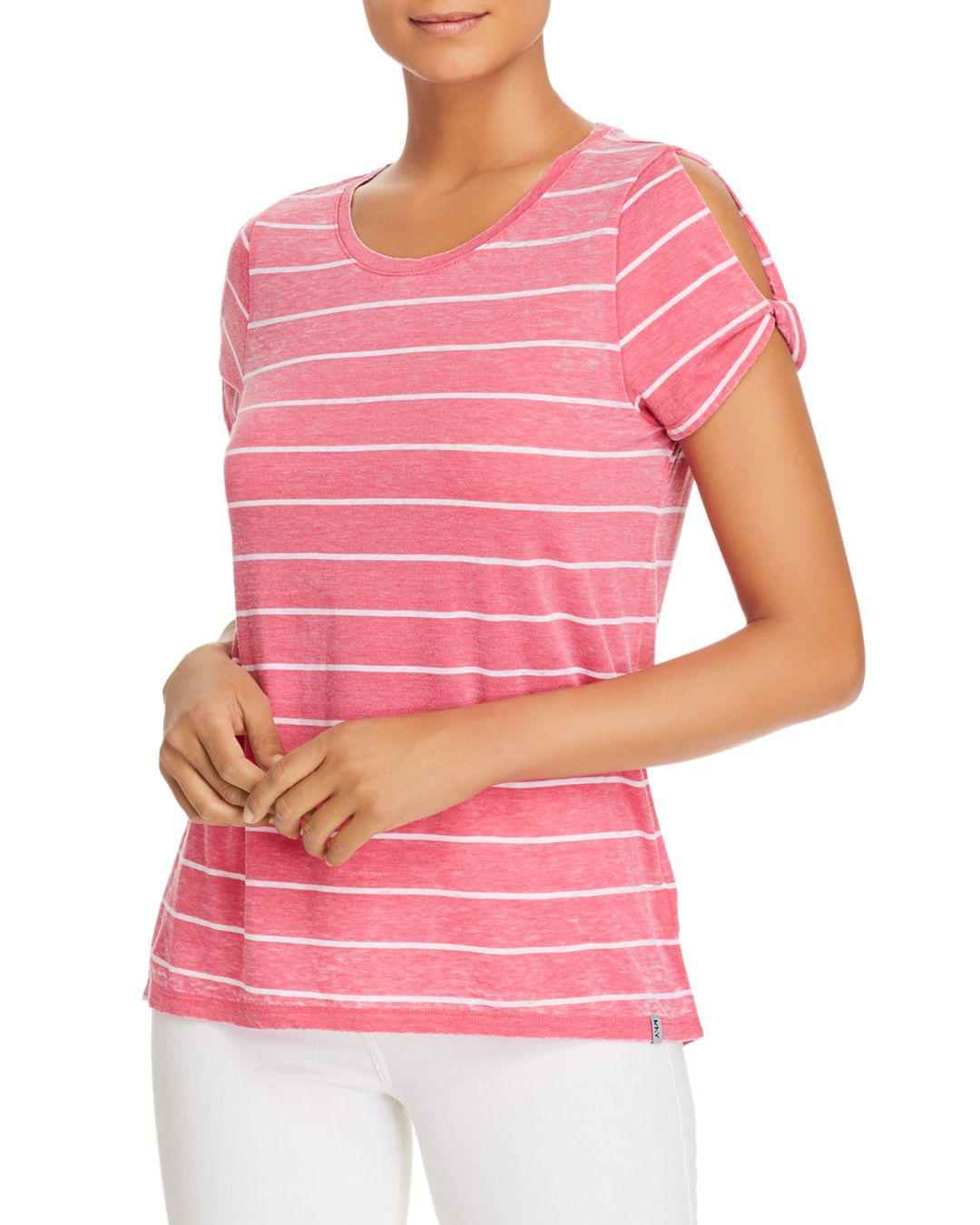 c7bedc5f91545 Lyst - Marc New York Performance Striped Cold-shoulder Twist Tee in Pink
