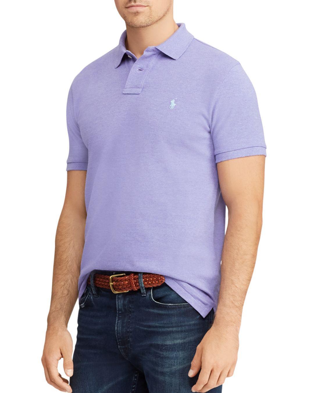 49e81e16d0376 Polo Ralph Lauren. Men s Purple Custom Slim Fit Mesh Short Sleeve Polo Shirt