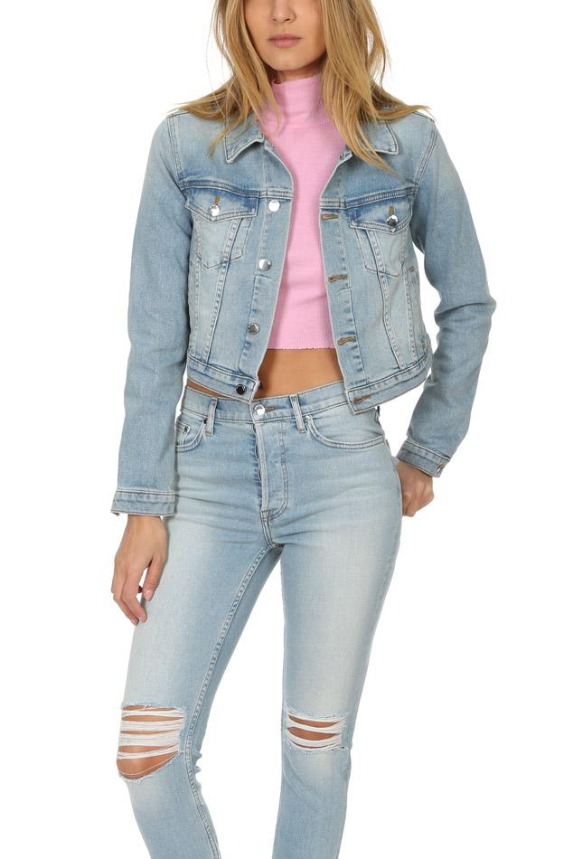 3073432f79fe9e Lyst - Cotton Citizen Crop Denim Jacket Light Vintage in Blue - Save 58%