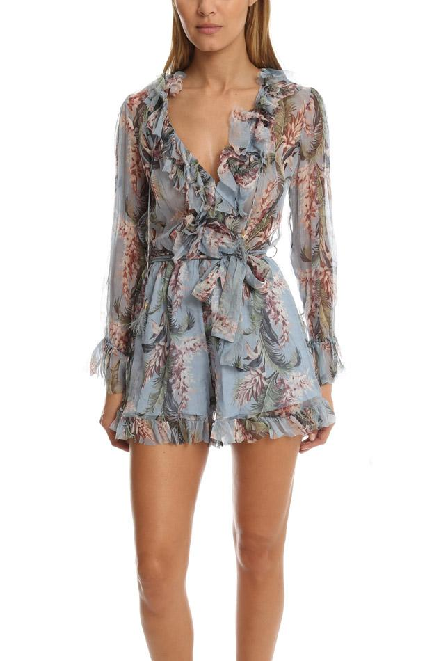 77ad3f3a345 Lyst - Zimmermann Winsome Ruffle Playsuit in Blue
