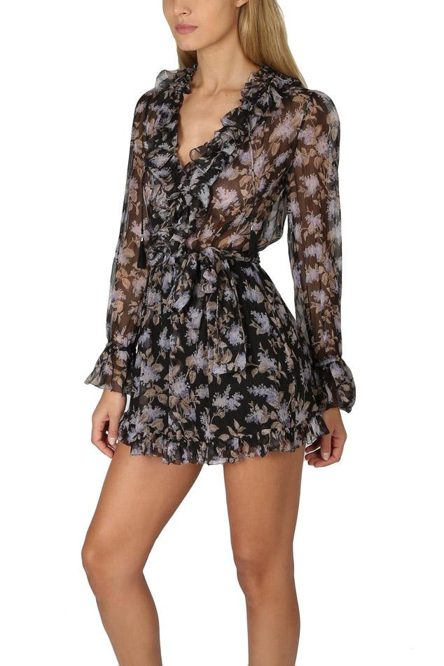 58968039214 Lyst - Zimmermann Stranded Ruffle Playsuit in Black