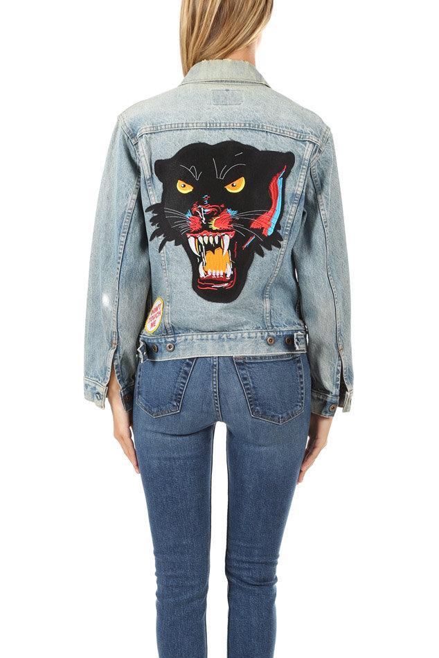Madeworn Rock Madeworn Black Panther Denim Jacket In Blue Lyst