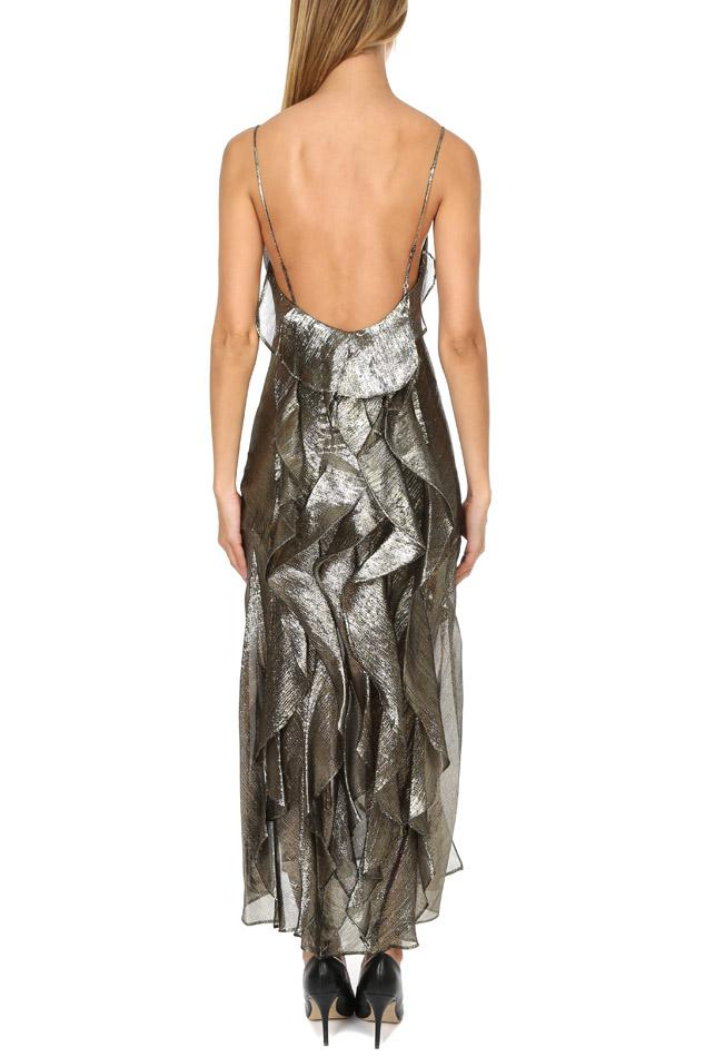 19956cf8271af LoveShackFancy Ruffle Slip Dress in Metallic - Lyst