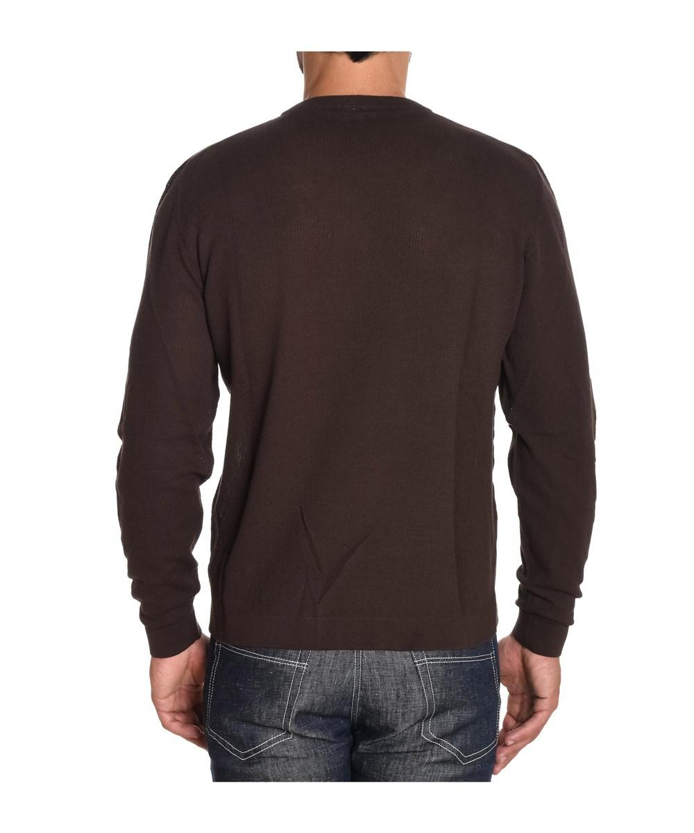 Eleventy Men's Brown Cotton Sweater in Brown for Men | Lyst