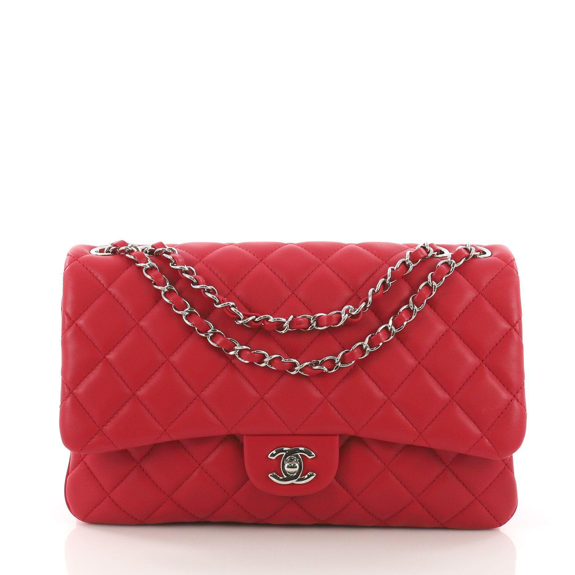 f71fc8869ade97 Lyst - Chanel Pre Owned 3 Bag Quilted Lambskin Jumbo in Red
