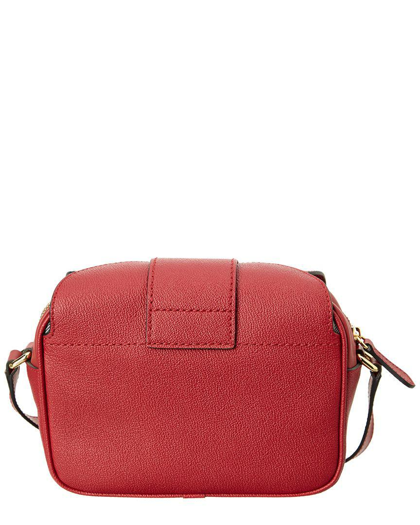 4bdbae2443b6 Lyst - Burberry Small Buckle Leather Crossbody in Red